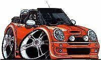 New Mini Cooper Convertible Cartoon car t-shirt -Orange car image on white shirt