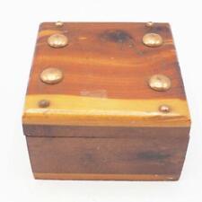 Vintage Small Cedar Wood Jewelry Trinket Box