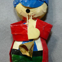 Christmas Ornament Mache Paper Boy Trumpet Player Republic of China 1950s As Is