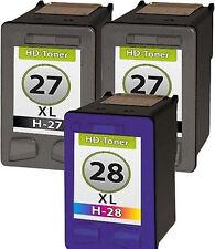3 Tintas para HP 27+28 Deskjet 3300 3220 3325 3420 3425 3500 3520 3535