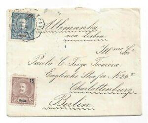 Port. ANGOLA letter 1902 Charlottenburg Berlin Germany via Lisbon 50+15 Reis unc