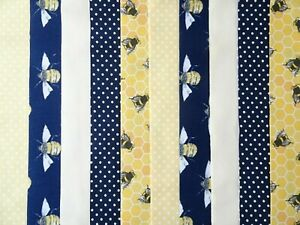 25 JELLY ROLL STRIPS 100% COTTON PATCHWORK FABRIC ~ NAVY / LEMON BEE