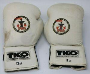 White TKO IFBA 12 oz. Boxing Gloves Leather Bag Padded Lady Boxer Set