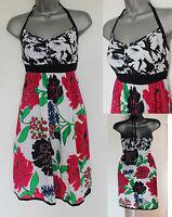 MONSOON Navy Red Floral Print Silky Cotton Halterneck Summer Beach Dress S M