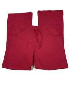 Dickies Womens Scrub Pants Nursing Size XS Flare Leg Pink Tie Front - XC
