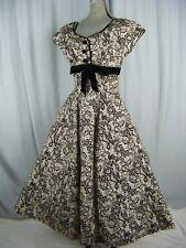 ELLENE KAYE Vtg 50s Black Felt Floral Printed Party Dress w/Velvet Jacket-2XS