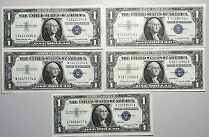 Lot of 5 1957 $1 Silver Certificates