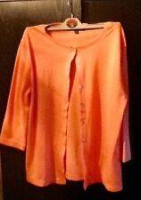 Karen Scott coral salmon summer cardigan cardi. S/m 3/4 sleeves