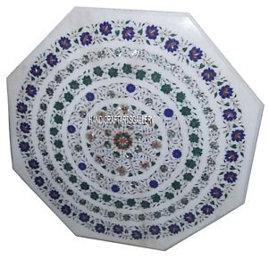 """30""""White Marble Coffee Table Multi Stone Marquetry Floral Inlay stone Art H2885"""