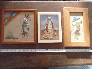 Group of Three Southwest Sand Paintings and Native Painting Art on Tile