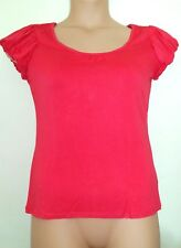 NEXT WOMAN LIPSTICK PINK SCOOP NECK STRETCHY SHORT SLEEVE TOP fit 16