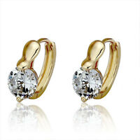 Gold Plated or Silver Cubic Zirconia Huggies Hoops Women Earrings Shiny Elegant