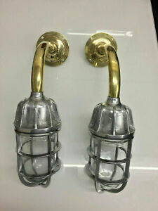 NEW NAUTICAL MARINE SWAN NECK SOLID ALUMINUM WALL LIGHT WITH BRASS PIPE 2 PCS