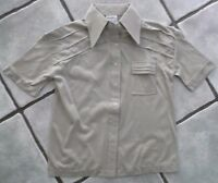 NEW BEIGE RETRO VINTAGE WOMENS SHIRT 1970s 1980s UK SIZE 10 BUST 34""