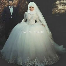 long sleeves Musilm brautkleid hijab wedding dresses turkey dress wedding gowns