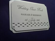Personalised Wedding Guest Book sign, white or ivory, A6, hearts