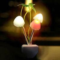 4pcs Colorful Mushroom LED Night Light plug-in Wall Lamp Cute Home Bedroom Decor