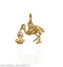 375 9ct Gold Stork & Baby Charm Pendant.  1.8g. Swinging Baby.