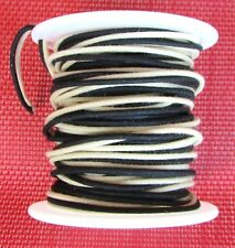 "50 ft"" Cloth Push Back 22 ga Guitar Wire Black & White on Spool Vintage Tinned"