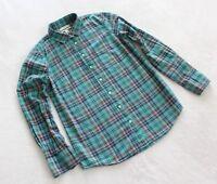 "J.Crew Women's Button Down ""Boy"" Shirt Casual Top Green Plaid Print Size 2"