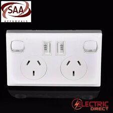 3 x Dual USB Double Australian Power Point USB Socket Switch
