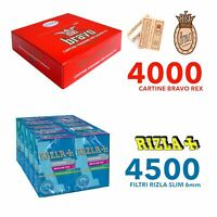 4000 CARTINE BRAVO REX CORTE REGULAR FINISSIME CON 4500 FILTRI RIZLA SLIM 6 mm!!