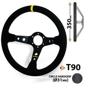 Lenkrad, Schwarz, Wildleder, 90 mm geschüsselt, Sportlenkrad, Rallye, Racing