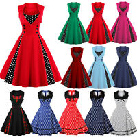 Oversize Women 50s 60s Vintage Rockabilly Dotted Evening Party Prom Swing Dress