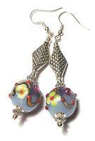 Long Silver Purple Earrings Drop Dangle Glass Beads Tibetan Style Pierced Hooks