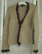 "BODEN Lambswool Chiffon Fringe Trim Cardigan M 34"" Bust Wheat Jumper Sweater"