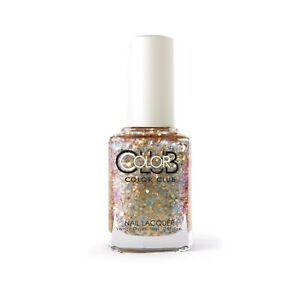 """NEW Color Club 9596 """"Chance of Rainbows"""" Nail Lacquer Gold Glitter Vegan Polish"""