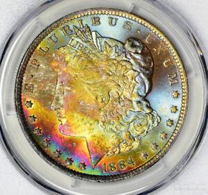 1884-O Morgan Silver Dollar PCGS MS64 CAC Rainbow Toned