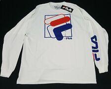 FILA Men's T-shirt - Stripes Logo- Long sleeve Apparel Training-classic white