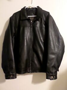 AIRBRUSHED AND AUTOGRAPHED - ALICE COOPER - BLACK LEATHER JACKET - MEN'S XL/XG