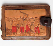 French tooled leather ID wallet Arcachon oyster fishing vintage 20th century