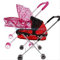 Baby Dolls 4 Wheel Wheeler Buggy Stroller Jogger Pram Pushchair Girls Toy #A