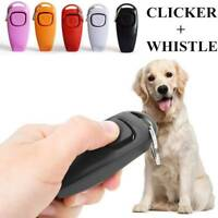 Pet Puppy Clicker Whistle Dog Training Obedience Cat Trainer Aid Click Keyring