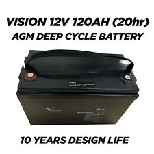 USED VISION AGM Deep Cycle Battery 12V 120Ah for Camping Solar - 10 Years Life
