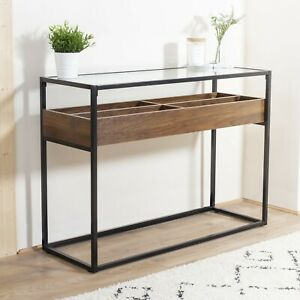 Bravich Glass Topped Console Table with Wooden Storage Shelf - 110 x 40 x 80cm