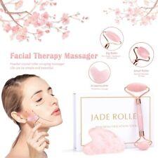 Rose Quartz Jade Roller & Gua Sha Face Body Facial Therapy Massager Stone Beauty