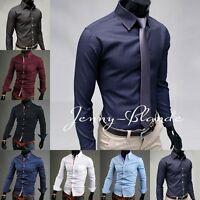 Stylish Men's Shirts Casual Striped Slim Fit Long Sleeve Dress Shirts Tee Tops