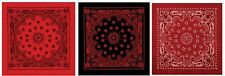 "Extra Large 27"" Red & Black Trainmen Bandana THREE PACK - 3 Big Paisley Bandanas"