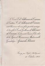 1900 Faire-part mariage Guillaume d'ADHÉMAR de CRANSAC / AZÉMAR de SOLERNOU.
