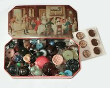 Antique Vintage Victorian Bakelite Metal Collectible Buttons in Tin Huge Lot!!!