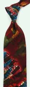"""Vintage Red Turquoise Abstract UNGARO Silk Tie 3.7"""" Wide 56"""" Long"""