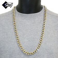 """Gold Silver Cuban Curb Chain Necklace 30""""Men's Stainless Steel Heavy Wide 11x5mm"""