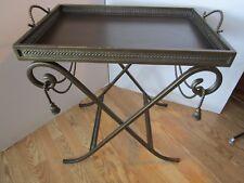"Hollywood Regency Tea Table Metal Rope Tassel Serving w/ tray folding 27¼""Tall"