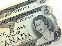 1973 Canada 1 One Dollar Consecutive Uncirculated ALZ Crow Bouey Banknote R853