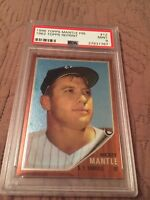 1996 topps mantle finest 1962 topps reprint refractor #12 MICKEY MANTLE PSA 9