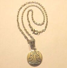 collier chaine argenté 46 cm avec pendentif médaille ange